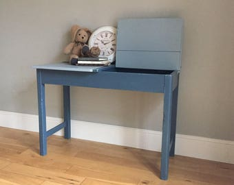 Vintage Wooden Double School Desk - Painted Blue (delivery quote available on request)