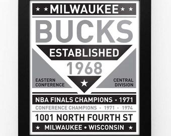 Milwaukee Bucks Black & White Modern Team Print Framed