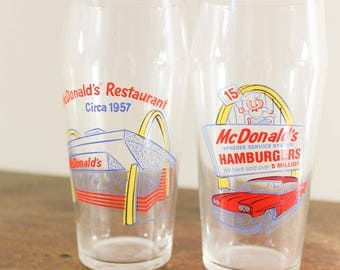 Promotional McDonald's Tumblers, Set of 2, McDonald's Hamburgers, Golden Arches, 1990s, Collectible Advertising, Libbey Glass