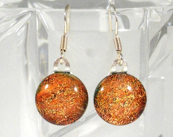 Sparkling Orange Dichroic Glass Drop Earrings, Sterling Silver Hooks, Gift For Her, Thanksgiving Jewelry