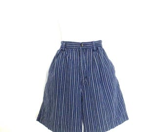 Vintage 80's Striped Docker's Shorts High Waist Cotton Shorts Navy Blue & White Pin Striped Shorts Women's Pleated Shorts Faded 80's Shorts