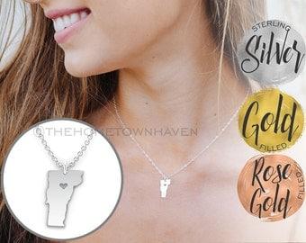 Vermont Necklace - I heart Vermont Jewelry, I Love Vermont, Sterling Silver Vermont Necklace