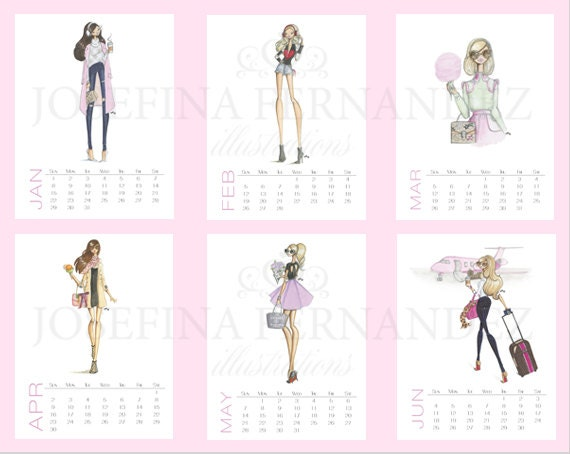 Fashion Illustration Calendar : Items similar to sale fashion girls printable