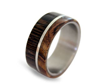 Titanium Ring with Wenge Wood and Cocobolo Inlay, Titanium Wedding Band, Mens Band, Wooden Ring, Wooden Band, Womens Ring