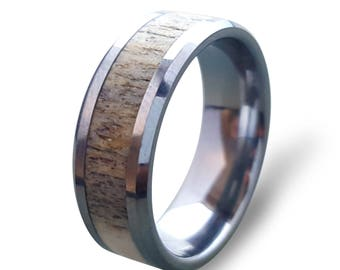 Tungsten Carbide Ring with Deer Antler Inlay, Tungsten Ring, Mens Wedding Band, Antler Ring, Mens Ring, Womens Ring, Antler Engagement Ring