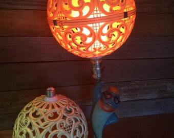 Mid Century Plastic Filigree Globe Light Covers