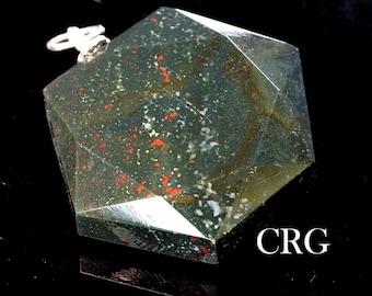 Faceted Bloodstone Hexagon Pendant w/ Silver Bail (HP13DG)