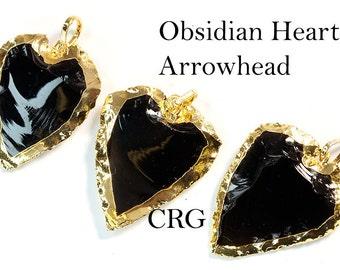 """Gold Plated Obsidian Heart Pendant 1"""" (HR10DG)"""
