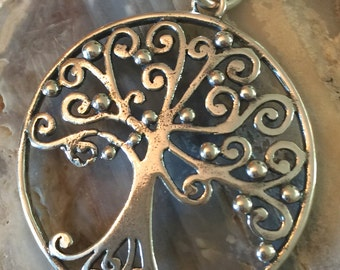 Tree of Life Sterling Silver Pendant. New Detailed Large Round Pendant. Domed. Chain NOT included.