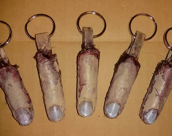 Severed Human Finger Cast Keychains