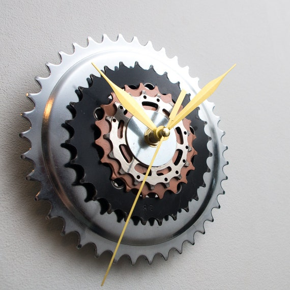 Unique Bike Wall Clock - Industrial Wall Clock - Steampunk Wall Clock - Unique Wall Clock - Large Wall Clock - Bicycle Clock - Cyclist Gift