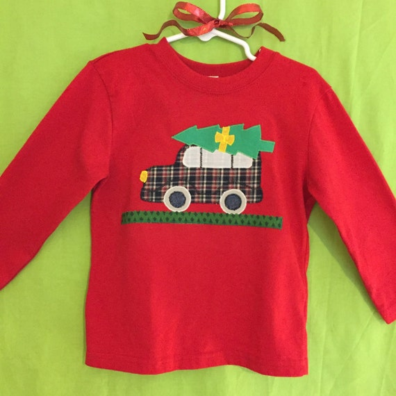 Toddler Boy's Christmas Tree station wagon car appliqué  t-shirt