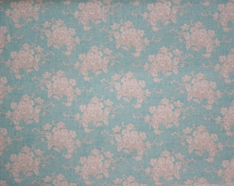 Tilda fabric quilt collection, half metre, 110 cm wide. Blue with beige / off white flowers.