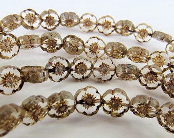 8mm Crystal Clear Hawaii Flowers Light Picasso Czech Glass Small Table Cut Coin 10 Beads PTC8HA004