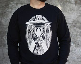 men's sweatshirt, unisex sweatshirt, sphynx cat men's sweater, alien cat jumper, steampunk clothing for man, vegan clothing, cat lover gift