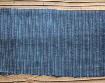 Vintage Japanese indigo dyed stripe plaid fragment