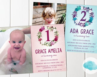 Personalised Floral Birthday Invitations with Envelopes