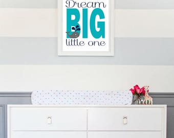 Nautical Nursery Digital Printable - 8x10 JEPG - Nautical Wheal Nursery - Baby Boy Nursery Decor - Dream Big Little One - Baby Whale