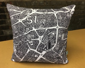 Sheffield Doodle Map Cushion