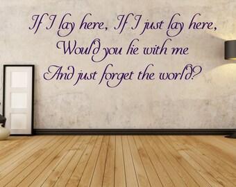 If I Just Lay Here, Chasing Cars, Snow Patrol Lyrics, Bedroom Decor, Love Song, Wall Art Vinyl Decal Sticker