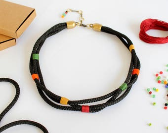Frida Kahlo necklace/Black rope necklace/Boho necklace/Fabric necklace/Multi strand necklace/Gift fot her/Valentines gift