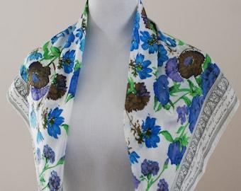 Oscar de la Renta Floral Grecian Border Vintage Silk Square Scarf NWT Deadstock M-880