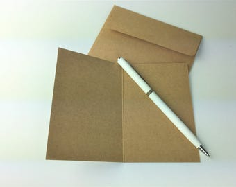Blank Kraft Cards with matching envelopes 105 x 72 mm - Set of 5