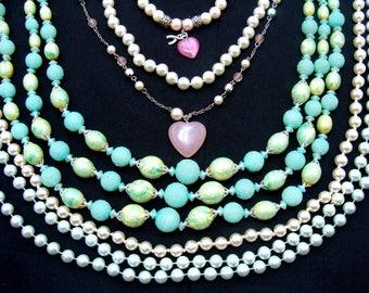 Vintage jewelry lot-faux pearl jewelry-old jewelry lot-faux pearl necklace lot-glass pearl jewelry-wedding jewelry-old pearl jewelry lot