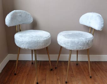 1950s chairs. Mid century moumoute chairs. Pelfran chairs. Synthetic fur.