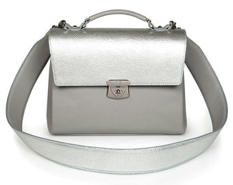 Leather Top Handle Bag, Grey Leather Handbag Top Handle, Women's Leather Bag KF-576