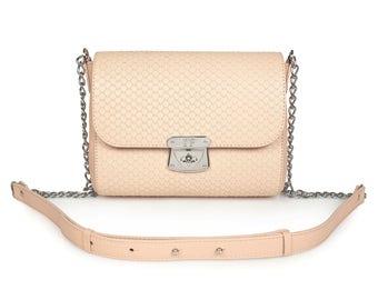 Leather Cross body Bag, Beige Leather Shoulder Bag, Women's Leather Crossbody Bag, Leather bag KF-902