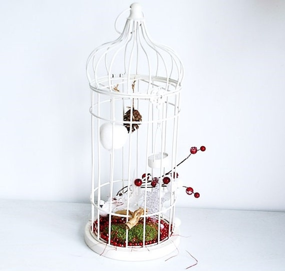 cage grande taille d 39 oiseau blanche m talique avec sa. Black Bedroom Furniture Sets. Home Design Ideas