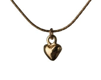 Dainty Heart 14K Gold Filled Pendant Necklace Simple Elegant Choker Necklace Friendship Jewellery Handmade Free UK delivery GP14