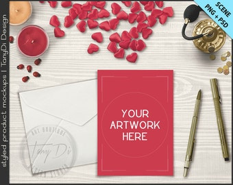 Card Envelope Hearts on Valentine Gold Table Styling | 5x7 Empty Portrait Landscape Card Styled Desktop Mockup D8 | Styled Stock Photography