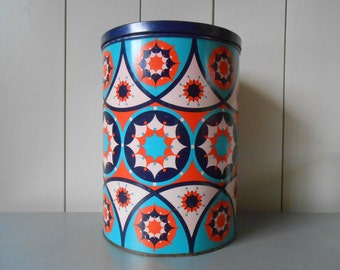 Vintage 1970s XXL TOMADO tin Container Canister with a psychedelic print in Red Pink Blue Purple. Made in Holland. Retro Boho Mod Hippie