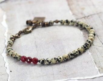 Dalmatian jasper bracelet Red jade bracelet Black and white jewelry Minimalist stone bracelet with clasp Simple jewelry gift Red jewelry