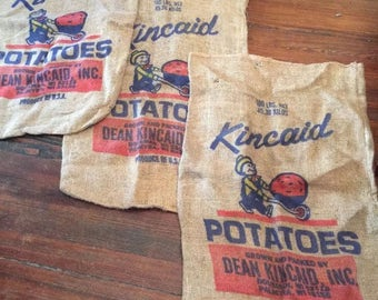 3 Vintage Kincaid Burlap Potato Sacks/ Vintage Burlap Sack