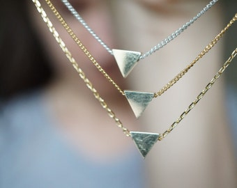 Tiny Gold Triangle Necklace - Gold Geometric Triangle Necklace - Modern Minimalist Jewelry - Dainty Triangle Necklace - Trendy Triangle