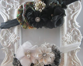 NEW shabby chic stretch vintage inspired headband black white bling