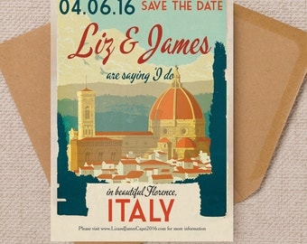 Vintage Florence Italy Postcard Wedding Save the Date Cards