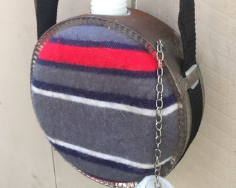 Vintage Canteen with adjustable strap southwestern fabric