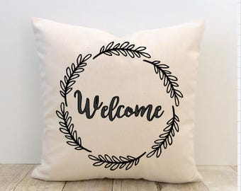 Welcome Pillow Cover, Wreath, Home Sweet Home, New Home, Housewarming