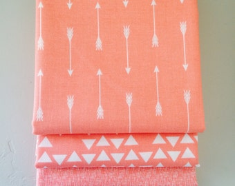 1 Yard Bundle By Popular Demand by Simple Simon for Riley Blake Designs with Hash Tag Fabric- 3 Fabrics Coral