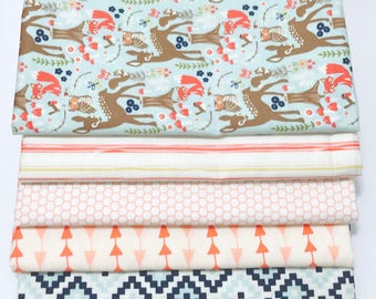 1 Yard Bundle Woodland Spring by Design by Dani for Riley Blake Designs with mixed fabrics 5 Fabrics