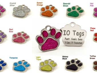 Laser Etched Glitter Paw Pet ID Tags FREE Custom Personalized for Dog & Cat Paw Print Tag