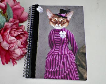 Journal Blank Cat Notebook Altered Art Book Anthropomorphic Person Animal Head  Original Art Cover Diary Funny Animal Notepad Artwork