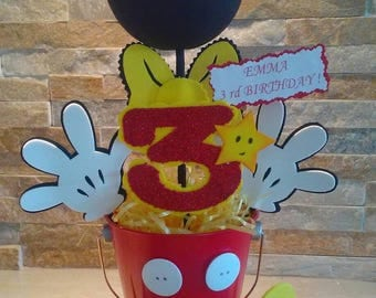 Mickey Mouse Centerpiece/ Baby Mickey centerpieces on Glitter head