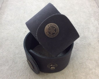 """1.5"""" Wide Charcoal Gray Genuine Leather Blank Cuff Bracelet with Oxidized Brass Snap Clasp - Measuring 38mm Wide x 222mm Long, Approx."""