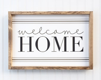 Welcome Home Framed Wood Sign, Housewarmint Gift, Farmhouse Style Wall Hanging, Rustic Gallery Wall Piece, Custom Home Decor, Grainsack Stri