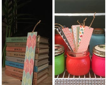 Handmade Bookmark with Coloured Leaf Pattern made with Recycled Materials